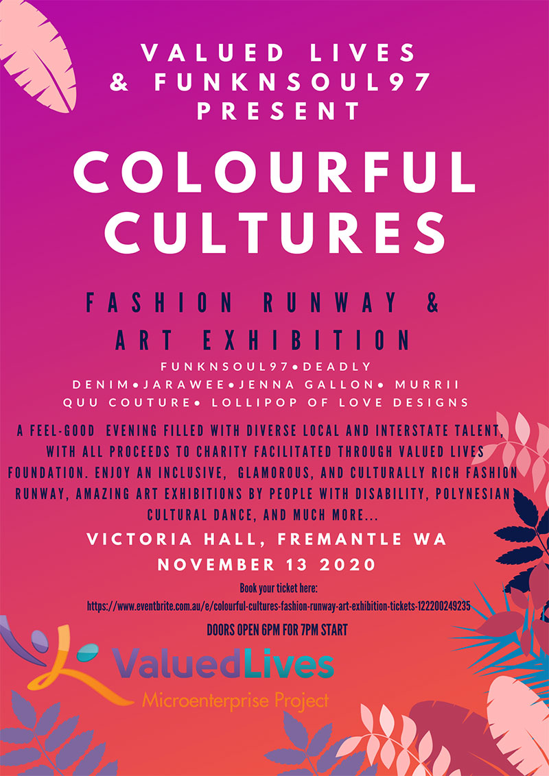 Image description: Colourful Cultures Runway Event Poster