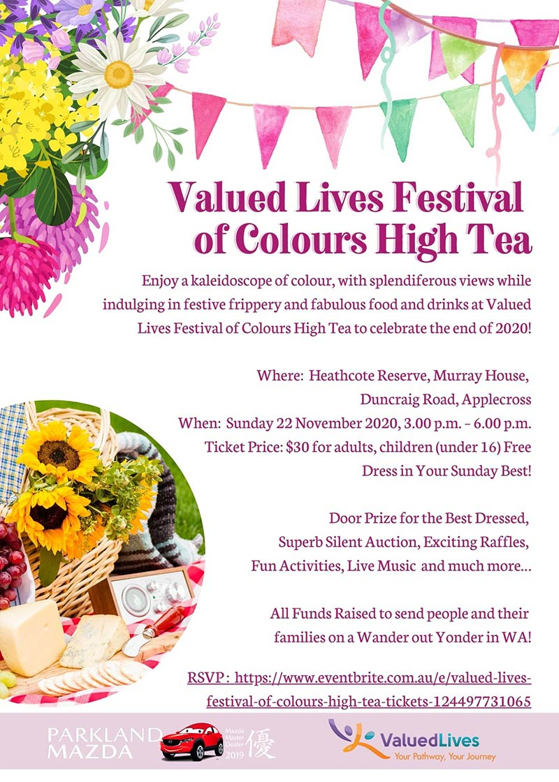 Image description: Valued Lives Festival of Colours High Tea Event Poster